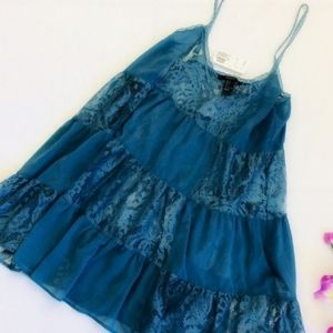 Forever 21 Small Blue Lace Baby Doll Cami Top
